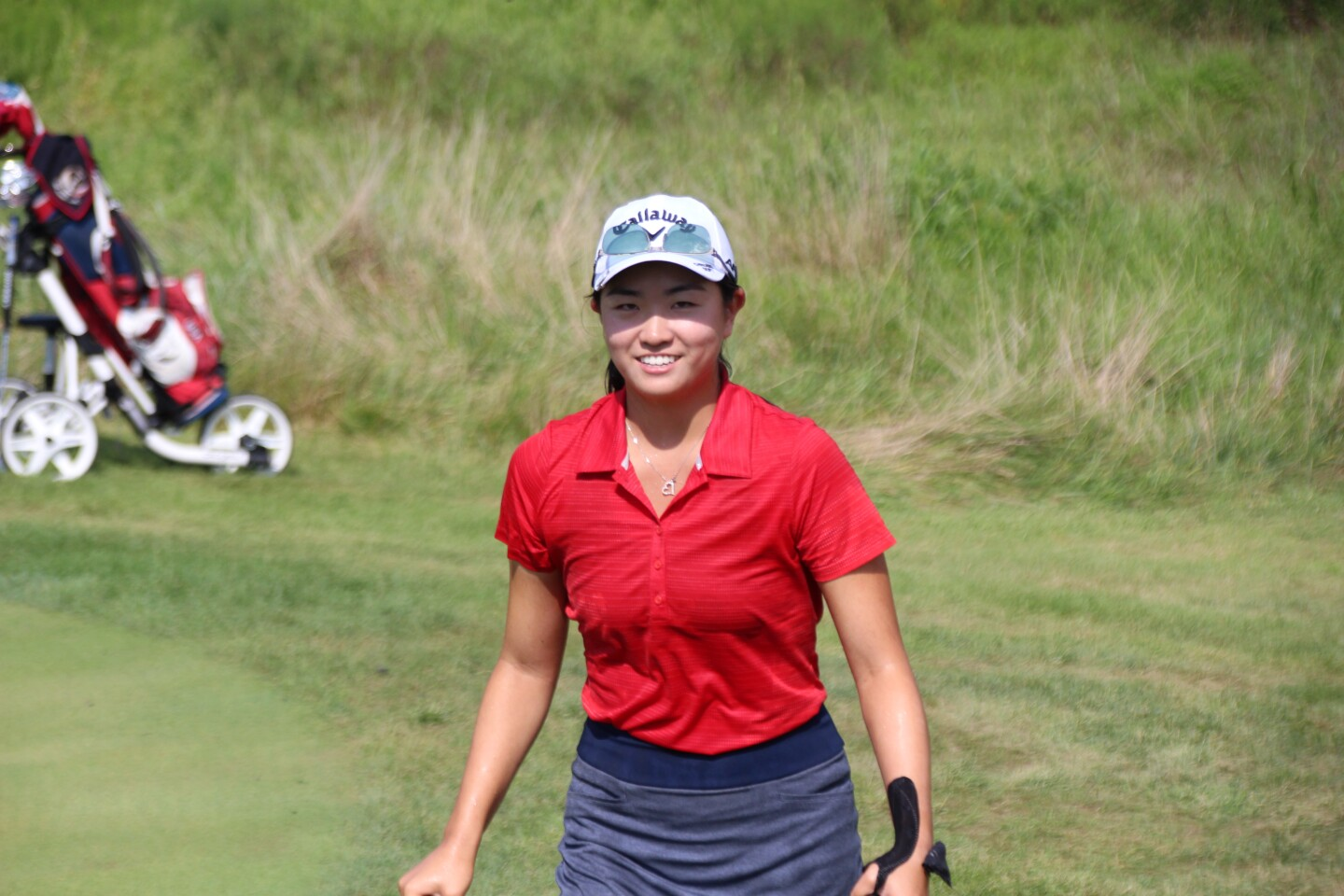 Rose Zhang walking off 18 green -2020-Rolex Girls Junior Championship.JPG