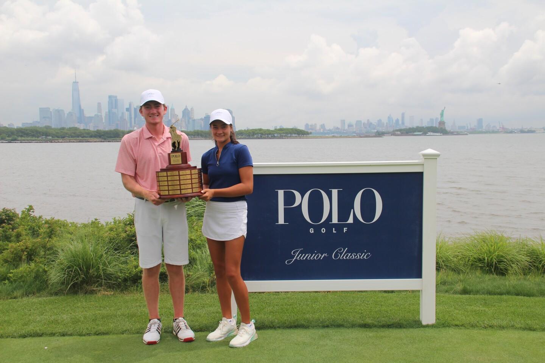 Kiara Romero and Nicholas Dunlap with trophy and banner -2021- Polo Golf Junior Classic.JPG