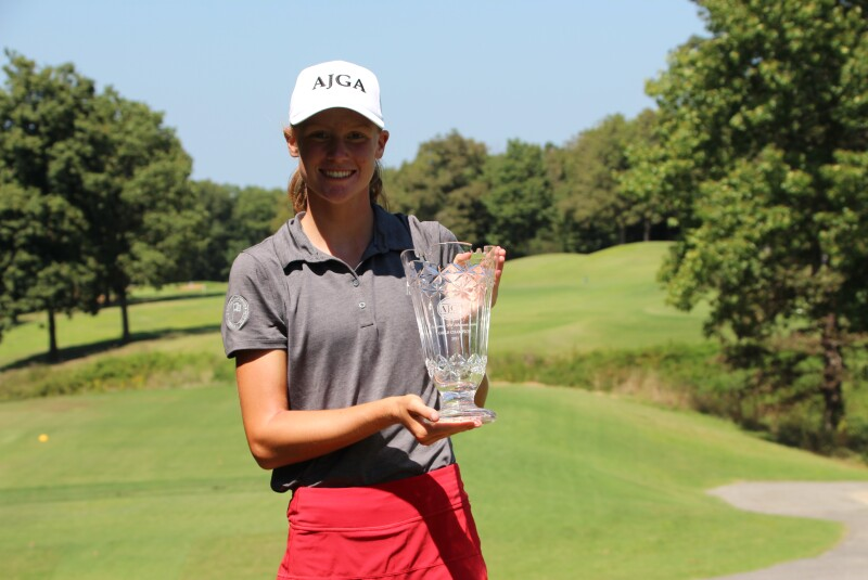 Grace killcrease with trophy on one tee - AW Arkansas.JPG