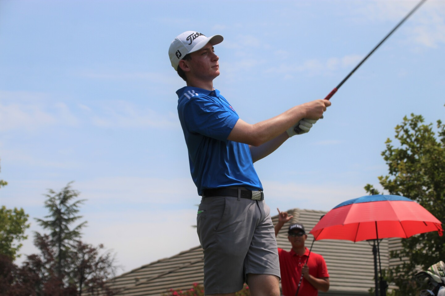 Ryan Voois tee shot with photo bomb-2021-AJGA Junior at Ruby Hill presented by Visit Tri-Valley.JPG