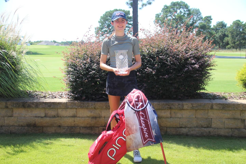 Jackie Feldman with PING bag trophy - AJGA Junior at Longleaf.JPG
