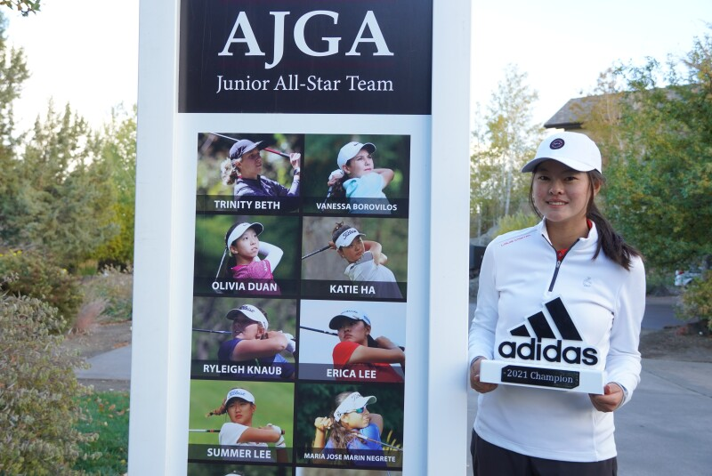 Erica Lee in front of Junior All-Star team board - champion - AJGA Junior All-Star Invitational presented by adidas Golf - 2021