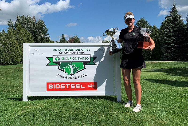 Katie Cranston Champion of Ontario Junior Girls Championship with Trophy - 2020