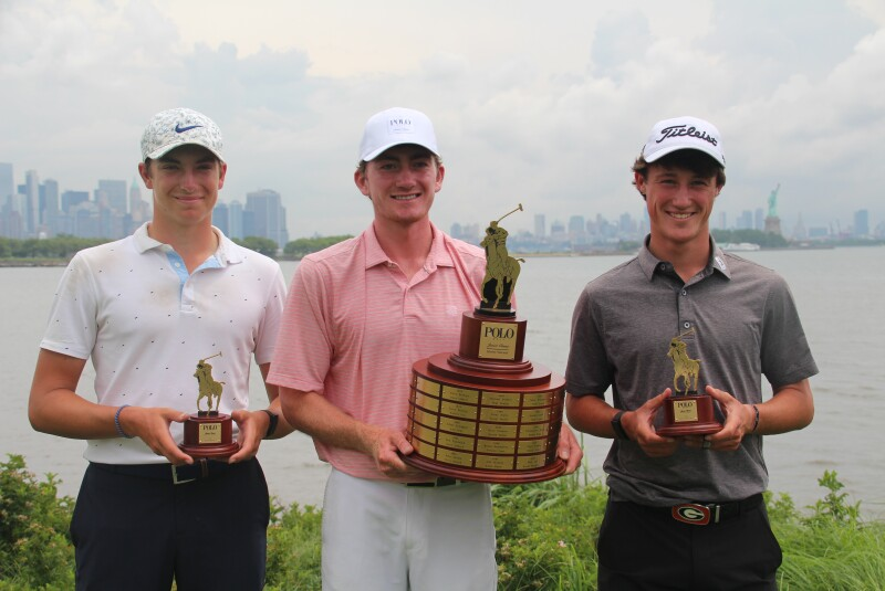 Nicholas Dunlap, Ben James, and Maxwell Ford up close with trophies 2021- Polo Golf Junior Classic.JPG