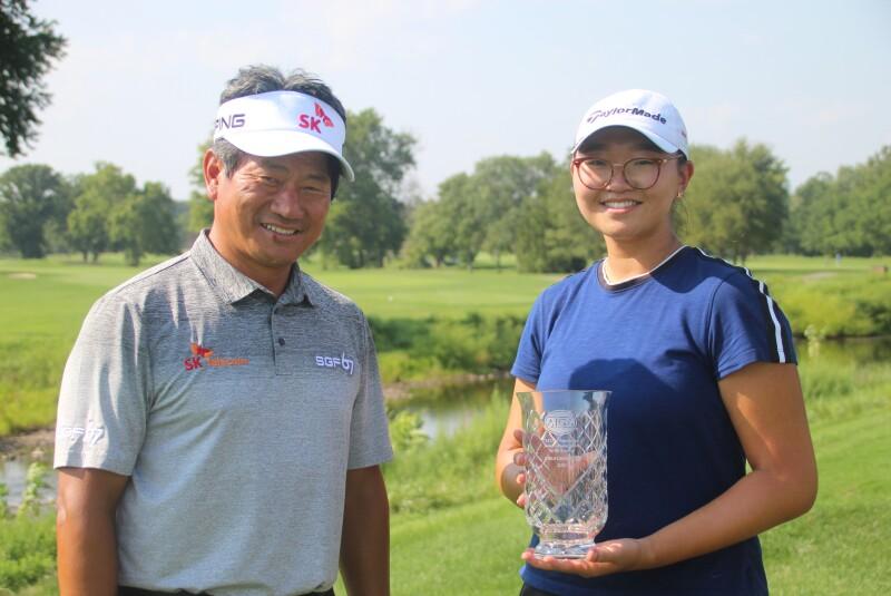 Eunice Kim and KJ Choi with trophy - 2020 - KJ Choi Foundation Junior Championship by SK Telecom.JPG