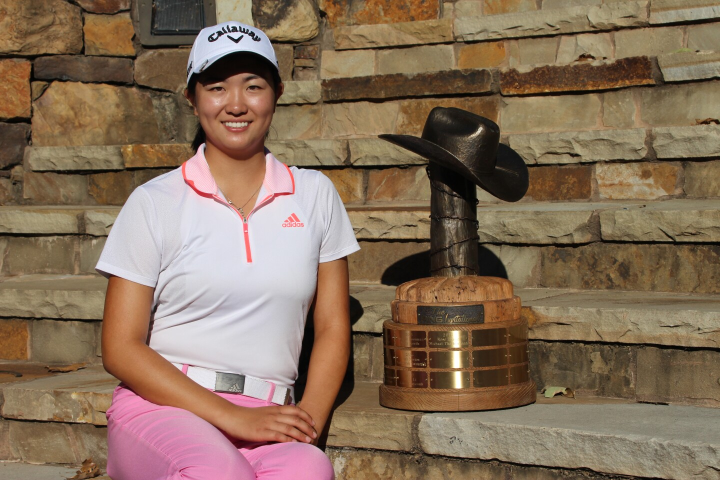 Rose Zhang with perpetual champ trophy - Award Ceremony - The PING Invitational - 2020 (7).JPG