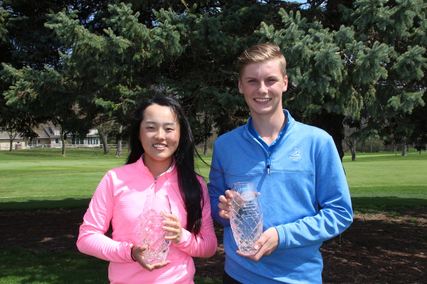 Kiki Bruner and Grant Norman Trophy Photo  - 2019 - AJGA Preview at Meadowbrook