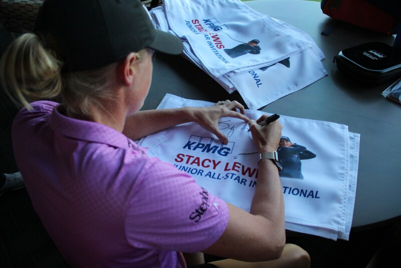 Stay Lewis signing flags - 2019 KPMG Stacy Lewis Junior All-Star Inviational.JPG