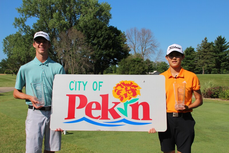 Reid and Liu with City of Pekin sign-2019-D.A. Points Junior Championship.JPG