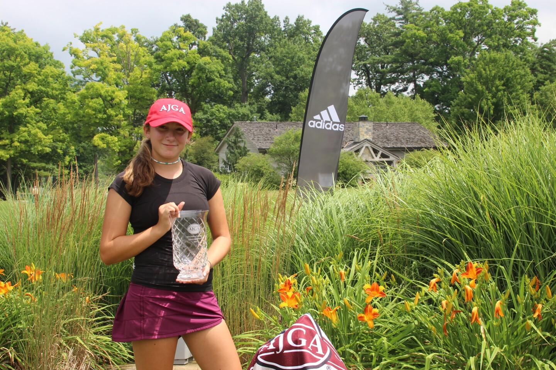 Alexsandra Lapple holding trophy Adidas Sign AJGA hat - 2020 - AJGA Junior at Penn State.JPG