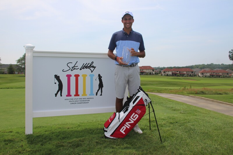 John Wild Champ Photo with Banner bag trophy-AJGA Stan Utley and Mid-America Youth Golf Foundation Junior Championship-2021