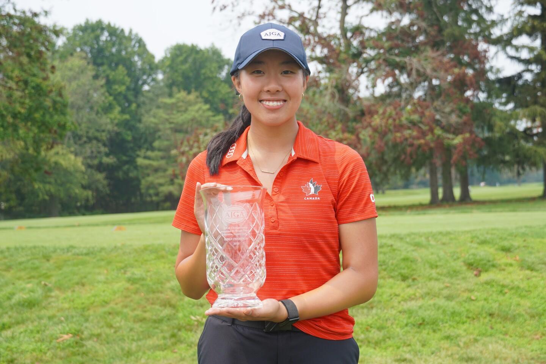 Lauren Kim first place trophy -2021- AJGA Championship presented by Stuart Francis, Princeton Varsity Golf '74.JPG