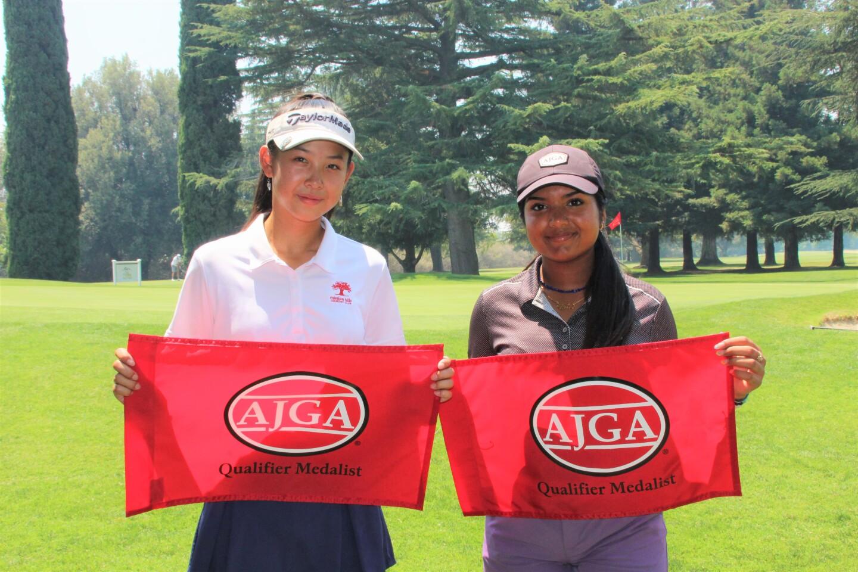 Derica Chiu and Varnika Achanta co-medalists qualifier -2021- AJGA Junior at Peach tree presented by Visit Yuba Sutter.JPG