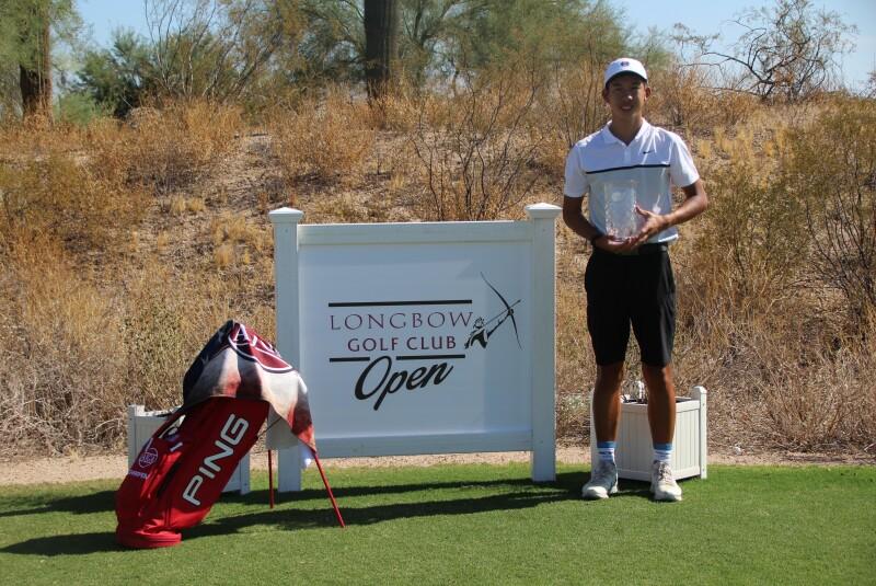 Aidan Tran - Longbow Open Signage - Champion Trophy Photo - AJGA Longbow Golf Club Tournament - 2020.JPG
