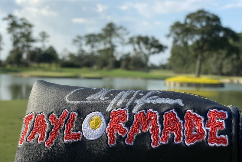 Morikawa signed headcover Junior PLAYERS fried egg