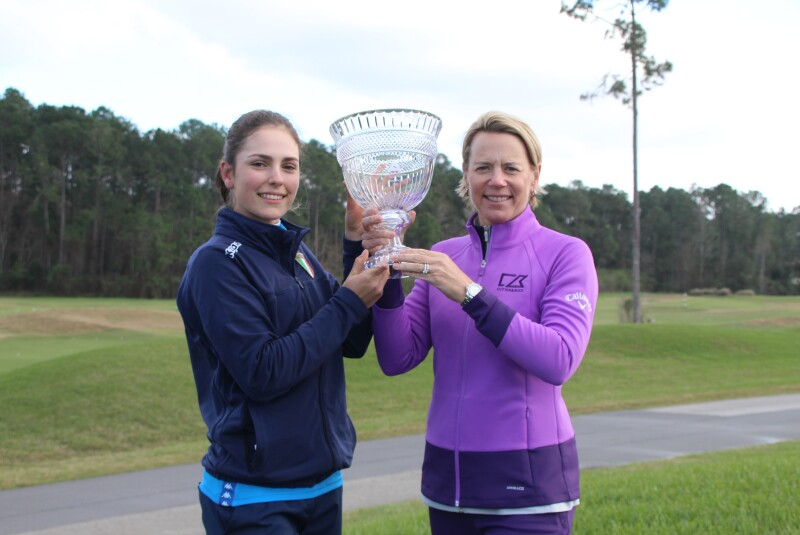 Benedetta Moresco and Annika with champion trophy - 2020 - ANNIKA Invitational USA presented by Rolex (1).JPG