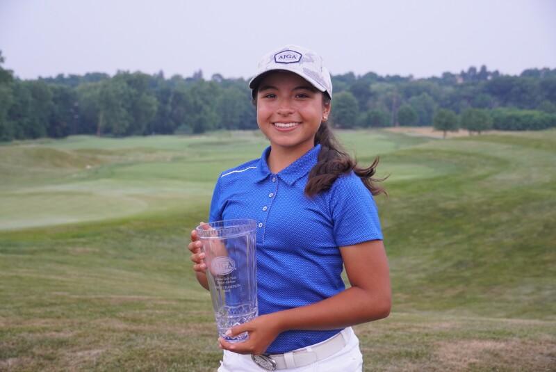 Maria Jose Marin Negrete AJGA Hat and trophy -2021- Junior Golf Hub Junior All Star.JPG