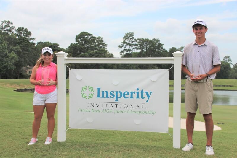 Hailey Jones and Jacob Borow with Insperity Sign and trophies - 2019 Insperity Inviatational - Patrick Reed AJGA Junior Cha.JPG