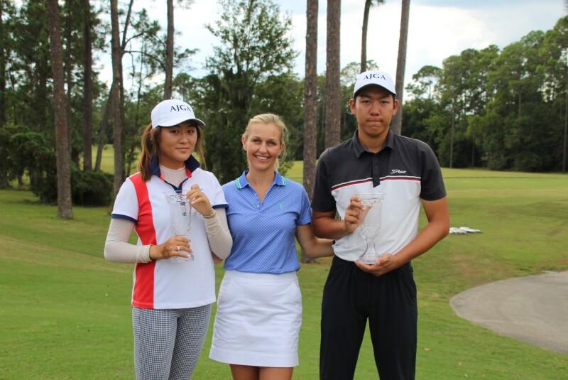 Caroline Hwang and Zikang Zhan in AJGA Hats with Brittany Horschel - 2019 - Billy Horschel Junior Championship.JPG