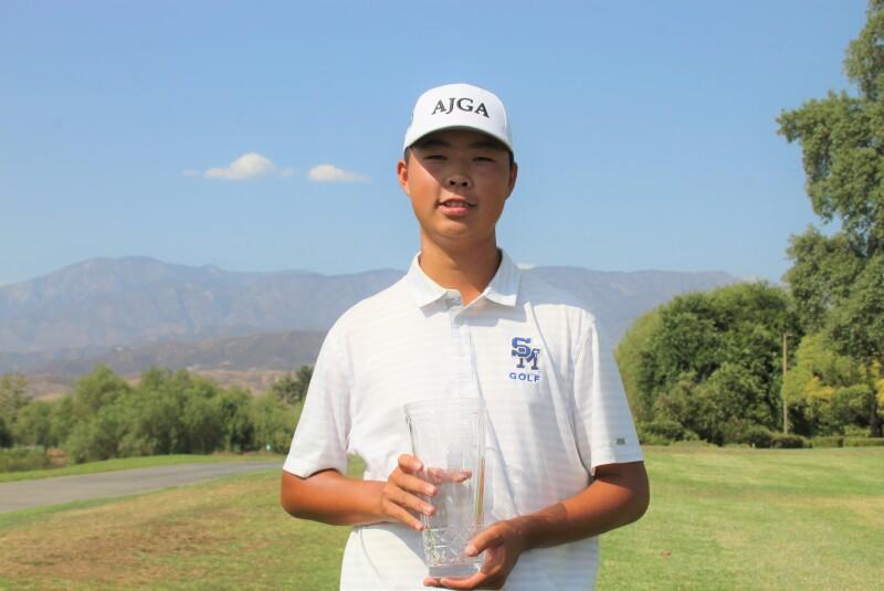 Aaron Huang with champ trophy-2021-AJGA Junior All-Star at Morongo.JPG