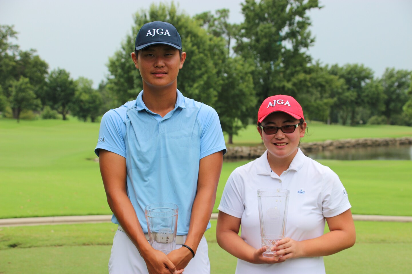 Hanseung Chang and Borina Sutikto winners in fairway with AJGA hat-2019-Gateway Mortgage Group Tulsa Junior.JPG